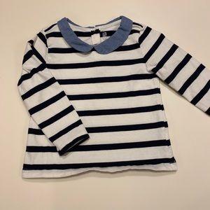 Peter Pan collar stripe shirt